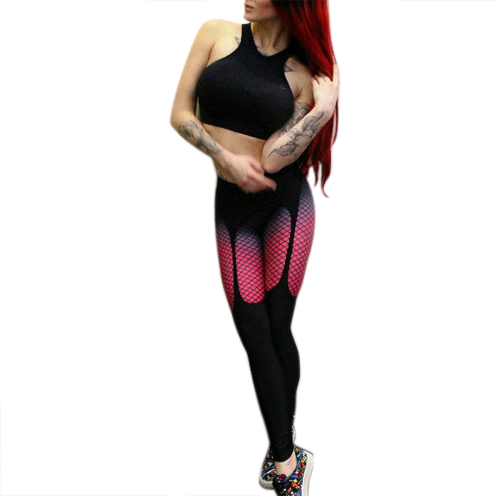 Women Yoga Compression Pants Mesh Leggings Pants Elastic Tights Sexy Yoga Capri Running Trousers Gym Slim Leggings Outdoor