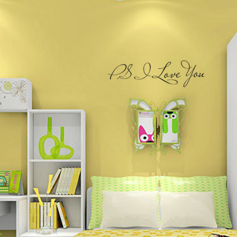 PS I LOVE YOU Words Wall Stickers Home Decor Living Room Modern ...