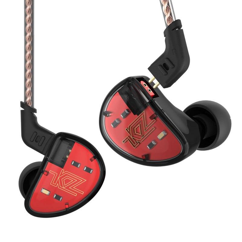 Original KZ AS10 5BA HiFi stéréo dans l'oreille écouteurs basse haute résolution écouteurs avec 1.2 m 2Pin câble cinq équilibré Armature pilote