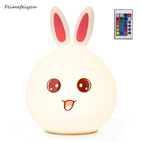 Feimefeiyou Remote Control Cute Rabbit LED Children Night Light Multicolor Silicone Soft Baby Nursery Lamp Sensitive