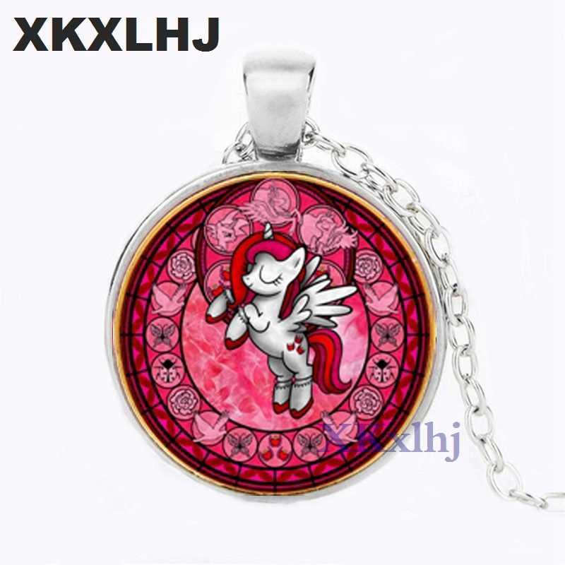 XKXLHJ 漫画マイ · リトル · ホース保利 Poni シリーズネックレスかわいいマジックレインボー馬ガラス宝石ペンダントネックレス女の子の誕生日プレゼント