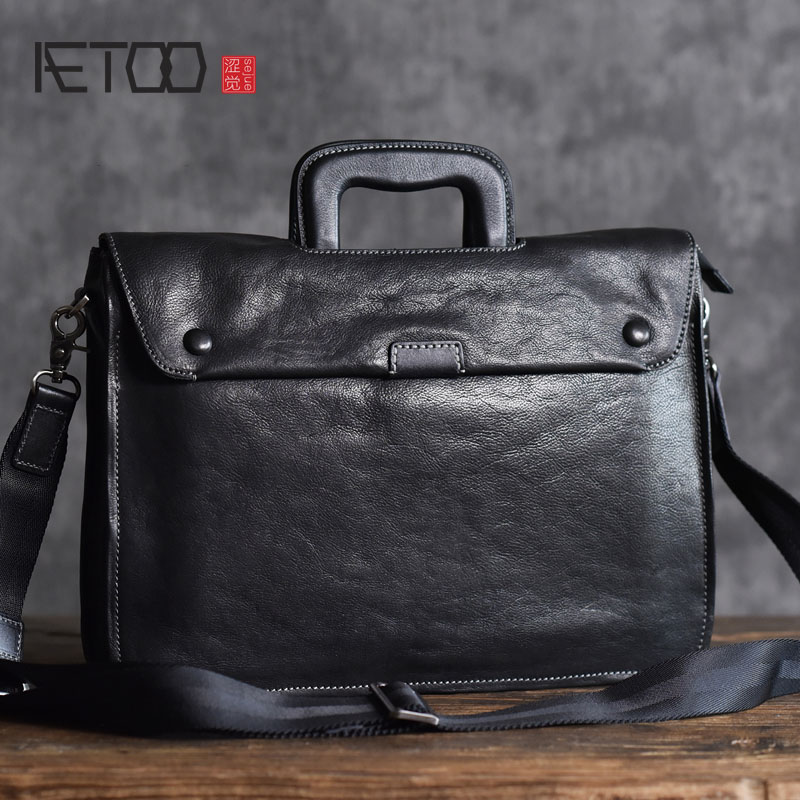 AETOO The first layer of vegetable tanned cowhide briefcase men and women business leather briefcase computer bag file package aetoo with leather handbag section briefcase men and women fashion personality business package canvas laptop bag 15 inch