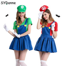 Adults Funy Super Mario Cosplay Costume Luigi Brothers Plumb