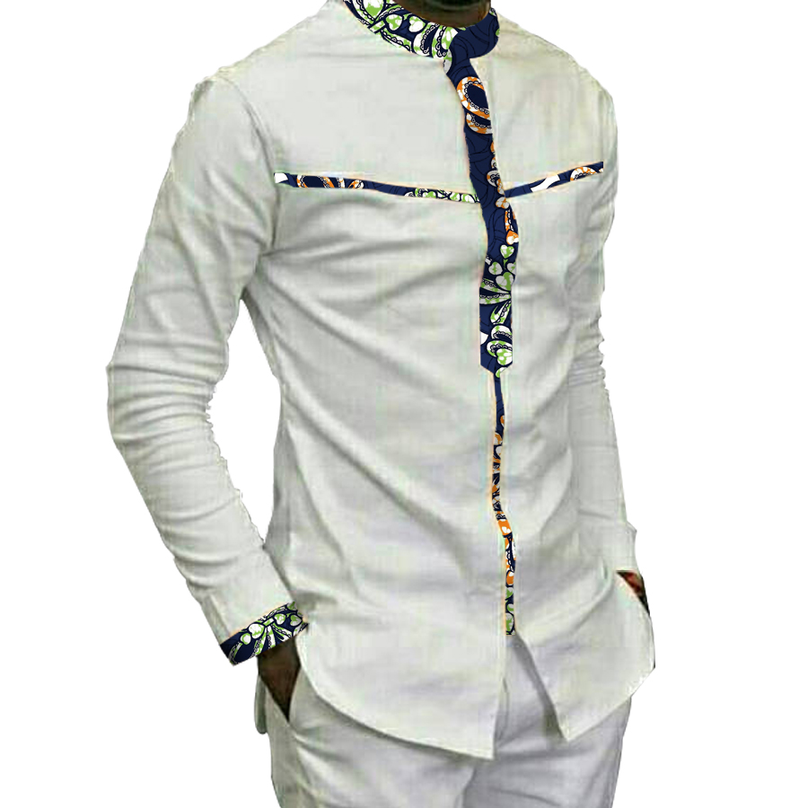 Fashion Mens  Africa Festive Clothing Ankara Clothes African Print Tops Long Sleeve Print And White Cotton Patchwork T-shirt
