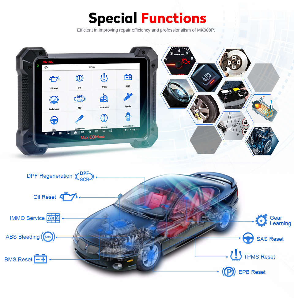 AUTEL MaxiCOM MK908P Auto Diagnostic & Programming Tools with J2534 ECU  Coding Adapter (Advanced Version Of Autel MS908P)