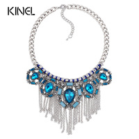 Kinel Luxury Vintage Sapphire Crystal Necklace For Women Bohemia Jewelry Plating Silver Tassel Chunky Necklace Christmas