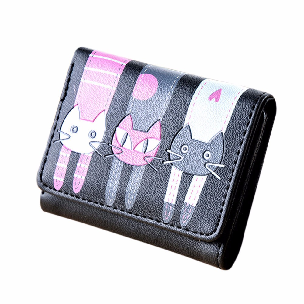 Women Cat Pattern Coin Card Holders Hand bag Leather Mini Wallet Purse Short Wallet Fashion cute cat pattern and zip design wallet for women