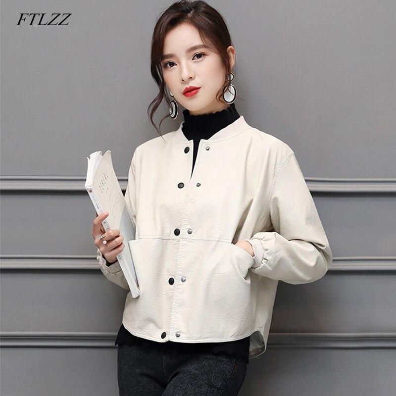 FTLZZ New Women Pu   Leather   Motorcycle Jacket Soft Faux   Leather   Baseball Uniform Short Coat Lady Single Breasted Biker Overcoat