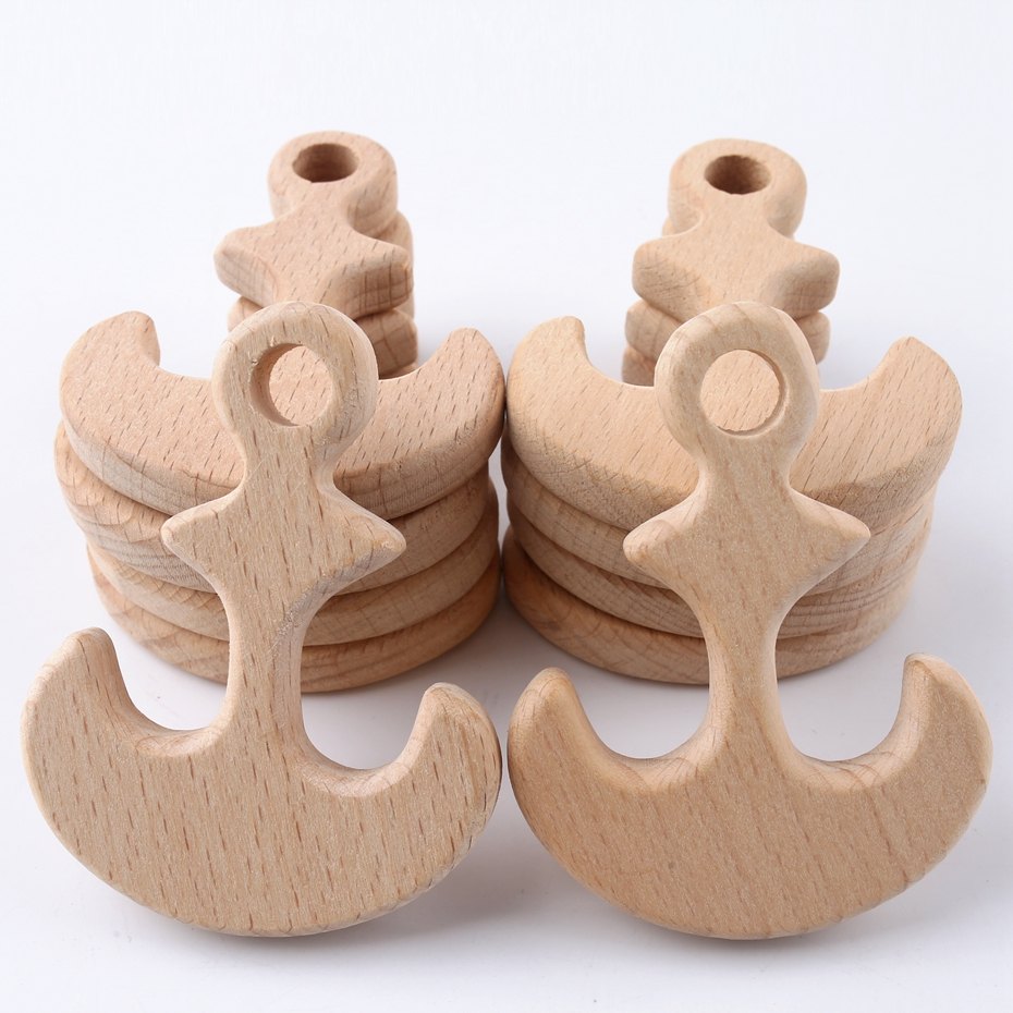 10PC Wooden Baby Teether Anchor Teething Inspired Organic Nursing Toys Safe Event Supplies Wood Small Gifts Crafts Teether