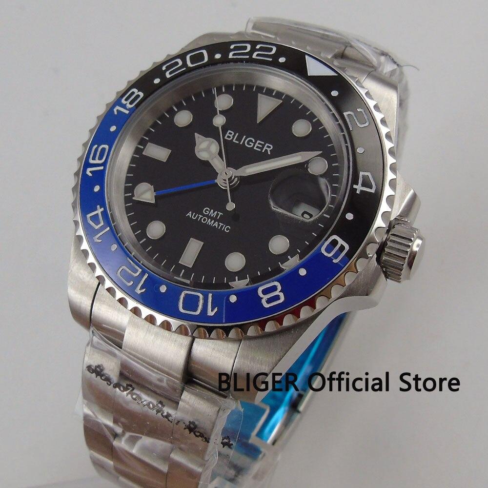 Sapphire Glass BLIGER 40mm Black Dial Blue Black Ceramic Bezel GMT Pointer Luminous SS Strap Automatic Movement Men's Watch B176