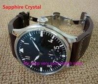 Бабочка Пряжка сапфировое стекло 44 мм Parnis черный циферблат 6498 Механический ручной взвод движение световой мужские часы 206a