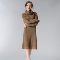 Liva Girl Turtleneck Autumn Winter Sweater Dress Women Tunic Casual Oversized Knitted Boho Dress Runway Hippie
