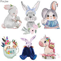 Prajna Cute Bunny Rabbit Patch Heat Transfer Vinyl Iron On Transfer For Clothes Cartoon Badge Ironing Stickers Applique A Level