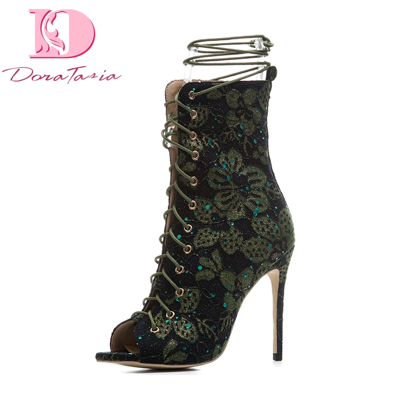 DoraTasia 2018 Large Size 33-43 11cm Thin High Heels Shoeslace Sexy Summer Boots Shoes Woman Embroidered Gladiator Shoes Women gladiator womens size 11 heels sheepskin sandals large size 33 cm 43 cm summer black green sandy cross tied woman pumps sexy