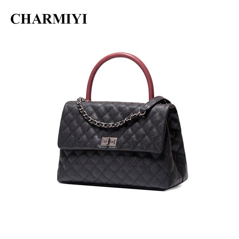 CHARMIYI Роскошные брендовые Икра натуральная кожа Для женщин Сумки дизайнерские женские Курьерские сумки Высокое качество женские ручка, сум...