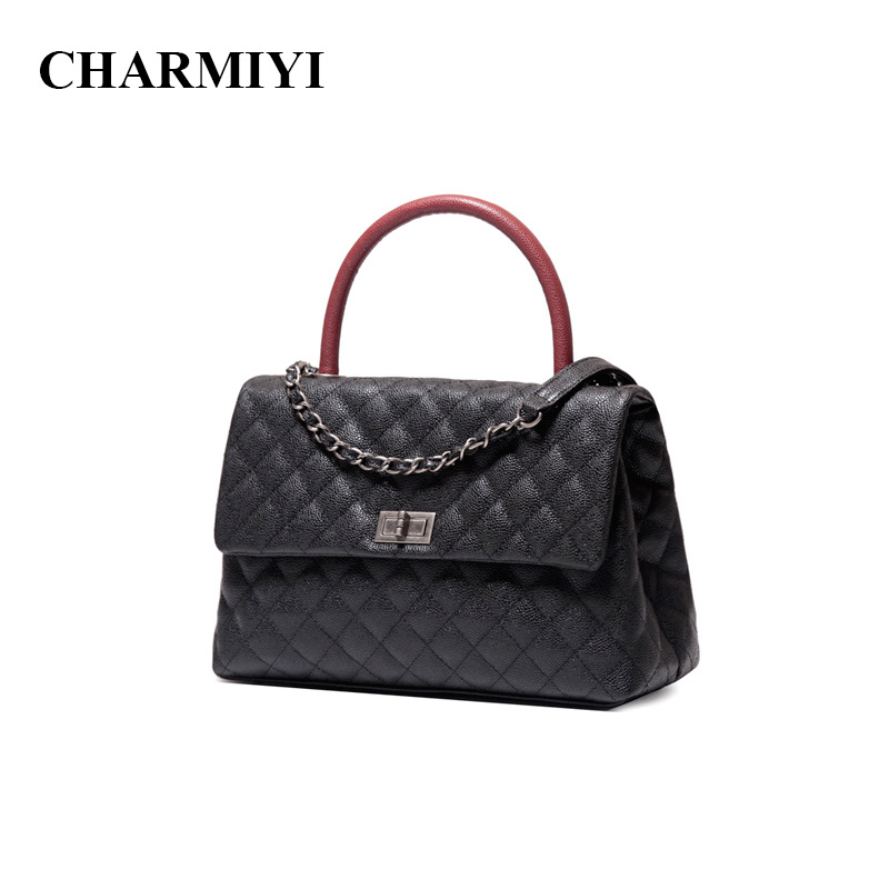 CHARMIYI Brand Luxury Caviar Genuine Leather Women Handbags Designer Ladies Messenger Bags High Quality Female Handle Tote Bag chispaulo women bags brand 2017 designer handbags high quality cowhide women s genuine leather handbags women messenger bag t235
