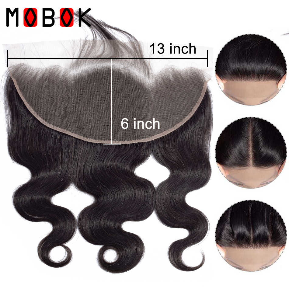 Mobok Human Hair Extensions Body Wave Lace Frontal Closure 13*6 Lace Closure Remy 8-22 Inch Natural Color Free Shipping