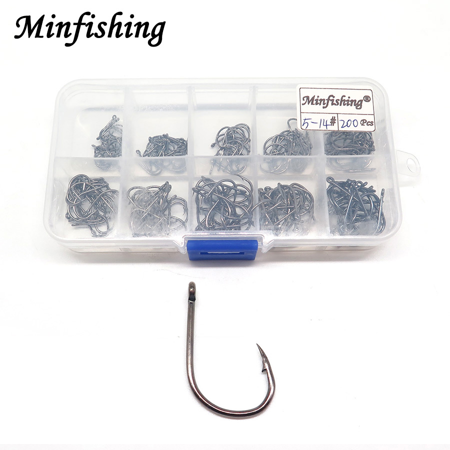 Minfishing 100 PCS Carp Hook High Carbon Steel Fishhook Mixed Size Barbed Fishing Hook With Transparent Retail Box Hook Pack