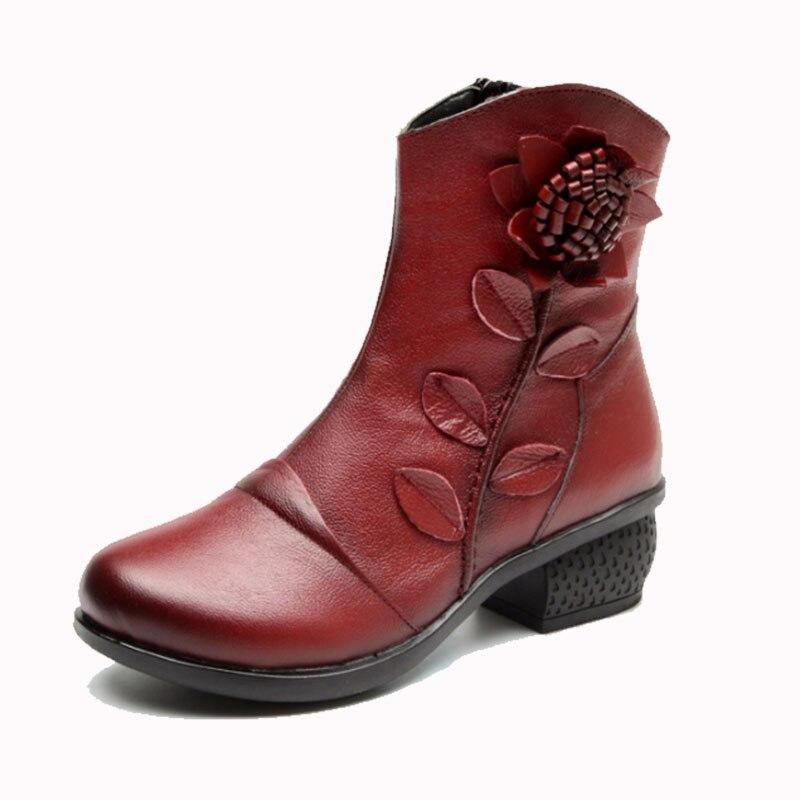 Zapatos red Fur De Invierno 2019 Tamaño Wbs325 Tacón Mujer rojo Negro Otoño Genuino Fur black Tobillo Fur Nacional Covoyyar 40 Grueso Botas Vintage blue Cuero azul AgRqzq