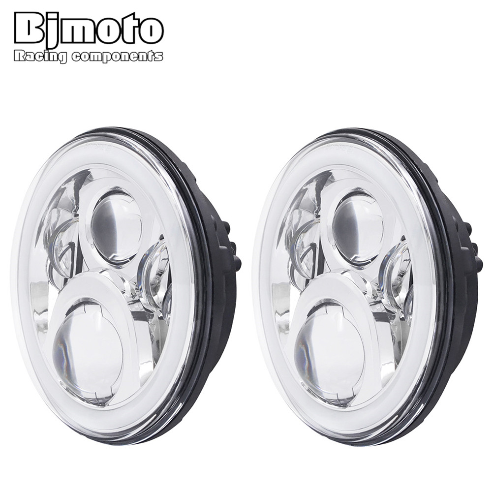 Pair of 7'' RGB LED Headlight Halo DRL HI/Lo Beam Headlamp Without App for Jeep Wrangler JK TJ pair 75w 7inch 5d headlight led h4 plug h13 drl hi lo beam for jeep jk tj cj hummer