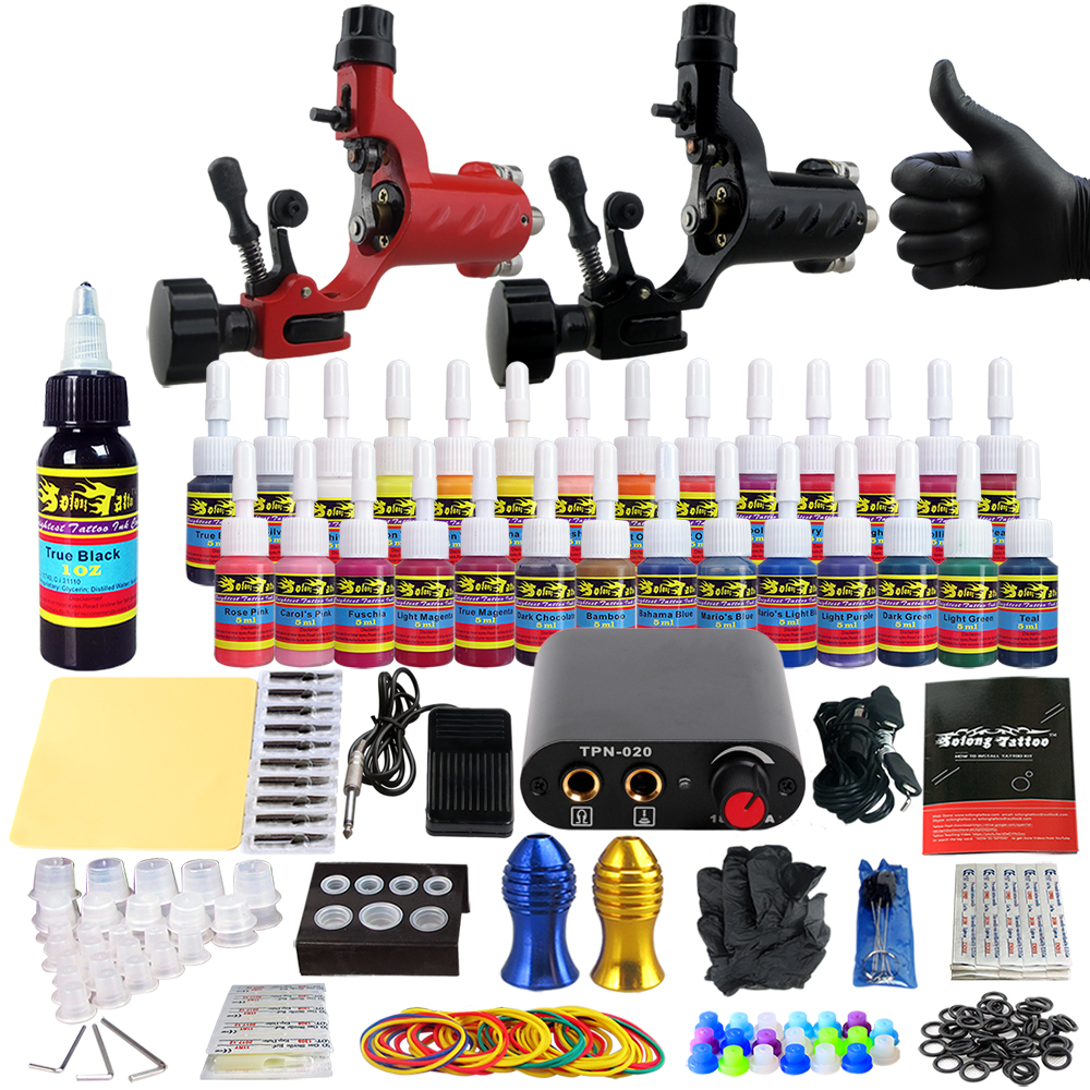 Solong Tattoo Complete Tattoo Kits 2 Rotary Machine Guns Beginner Tattoo Set 28 Inks Needles Tips Grips Tubes TK204-16 solong tattoo kits 2 rotary machine guns power supply for beginner choosing the power cable contact machine and power box
