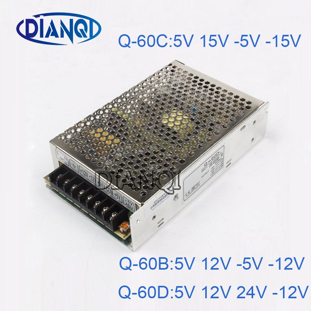 DIANQI quad output Switching power supply  60W  5V 12V -5V -12V 24V power suply Q-60 ac dc converter 1pcs 60w 12v 5a power supply ac to dc power suply 12v 60w power supply 100 240vac 111 78 36mm