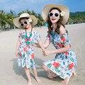 Madre e hijo madre e hija de ropa trajes de chica de moda fuera del hombro vestido de flores de verano cortocircuitos de la playa vestidos de fiesta para las mujeres