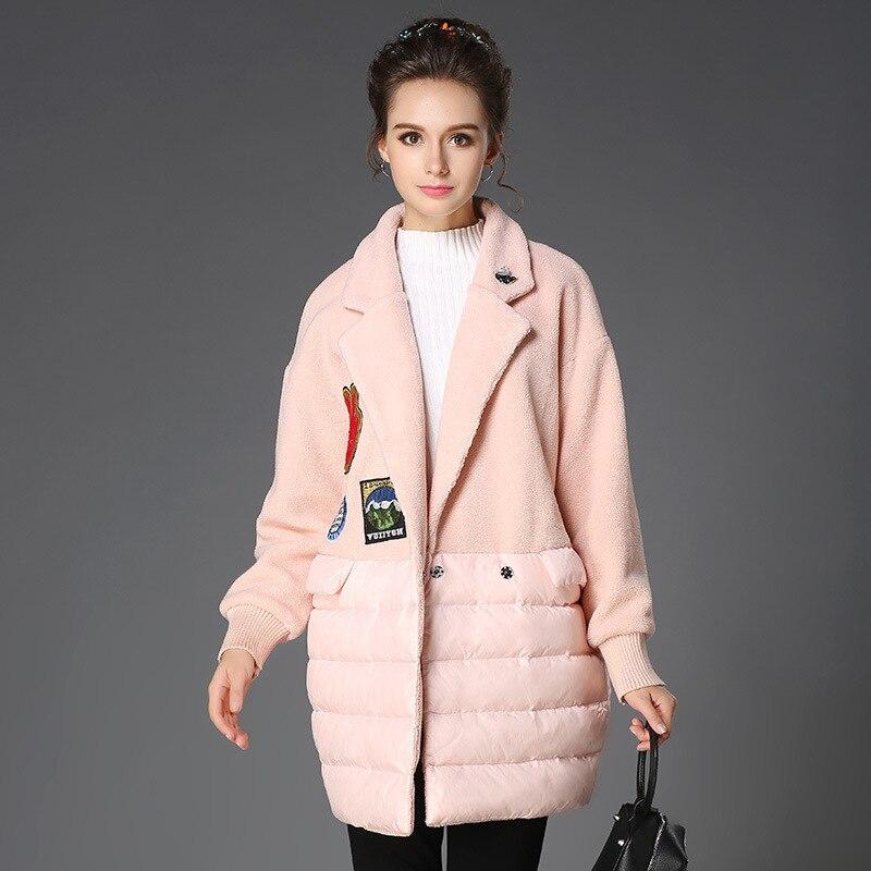 D'hiver Épais Gris Modèle Taille Et La Aofuli Plus Long Chaud Appliques rose 5xl 2017 L Manteau Casual Femmes Nouveau Polaire UcUyaW0f