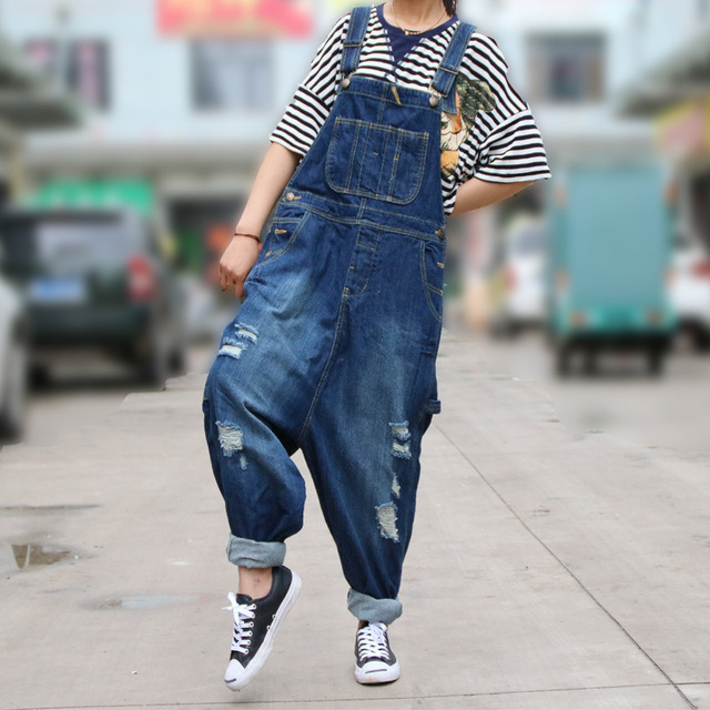 5abab8d0c0ec Fashion Denim Jumpsuit Ripped Hole Destroyed Crotch Rompers Baggy Trousers  with Braces Women overalls Casual Jeans Dungarees