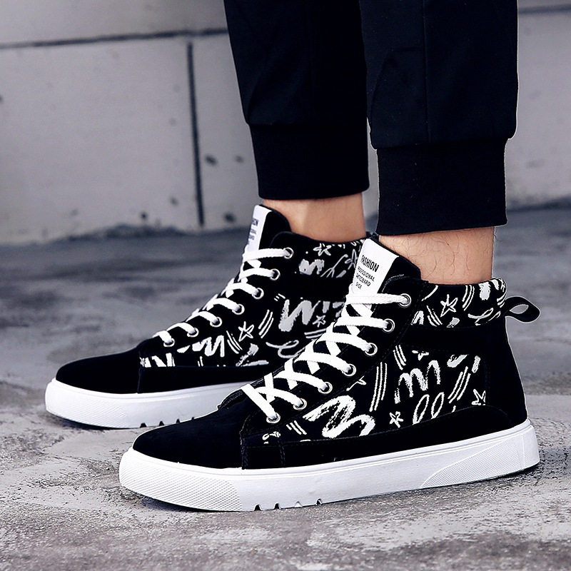 Fashion Graffiti Men Casual Shoes Hip-hop High Help Men Shoes 2018 New Lace-Up Casual Ankle Boots Flock Flat Canvas Male Shoes xiaguocai spring autumn high top men shoes fashion canvas men s casual shoes lace up flat ankle boots for male