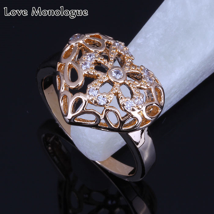 Love Monologue Special Design Yellow Gold Color White Cubic Zirconia Heart-shaped Hollow Ring Size #7 #9 X0004 Free Jewelry Bag