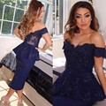 2017 Sexy Off the Shoulder Short Cocktail dresses 2016 Navy Blue Lace Cap Sleeve Robe De Soiree Fashion Women Party Dress