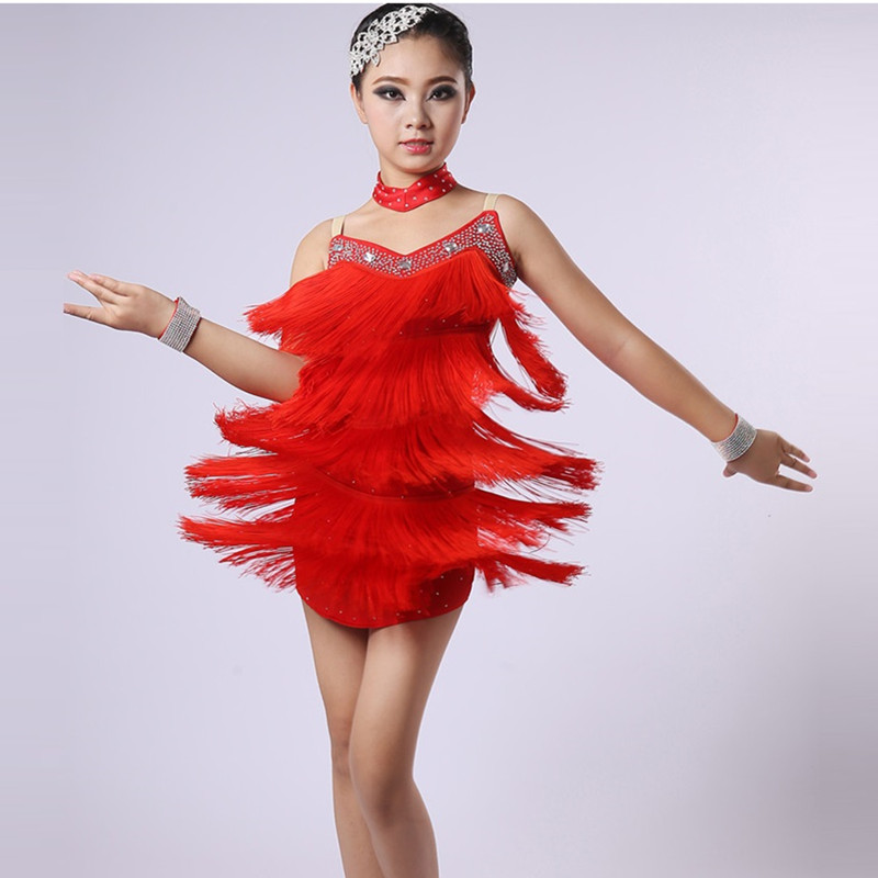 Picture of Customize Red Children Latin Dance Dress Girls Dance Costume For Kids Latin Dresses For Girls Latin Salsa Dress Rumba Samba