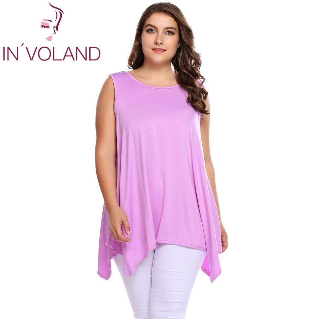 IN'VOLAND Femmes Débardeurs Plus La Taille L-4XL Vintage O-cou Sans Manches Solide Asymétrique Pulls Tunique T-shirts Camisoles