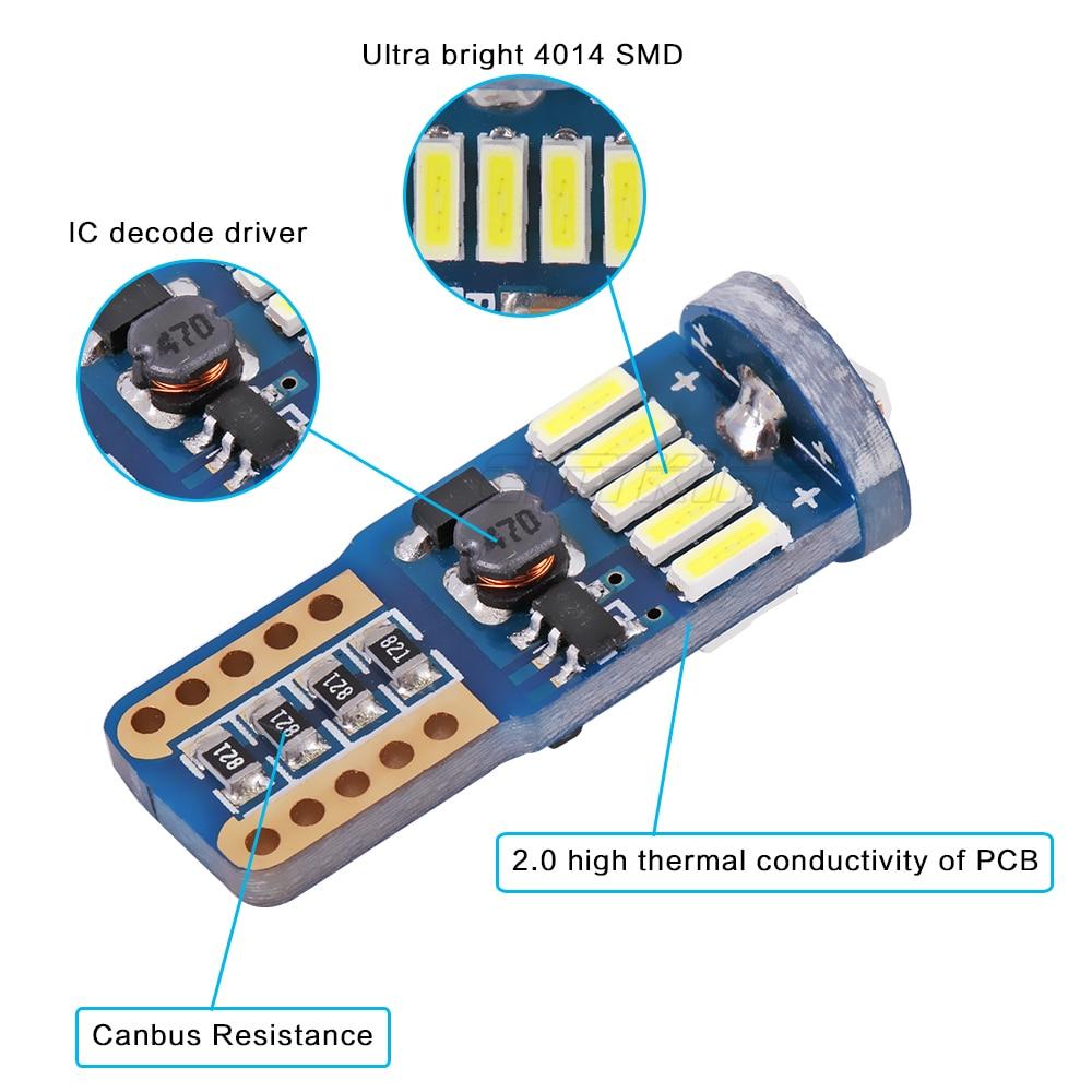 10PCS / lot Car Auto LED T10 canbus led W5W Canbus t10 led 15smd 4014 - Ավտոմեքենայի լույսեր - Լուսանկար 3