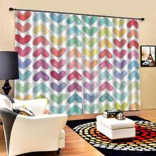 colorful heart curtains wedding room Luxury Blackout 3D Window Curtains For Living Room Bedroom girls room(China)