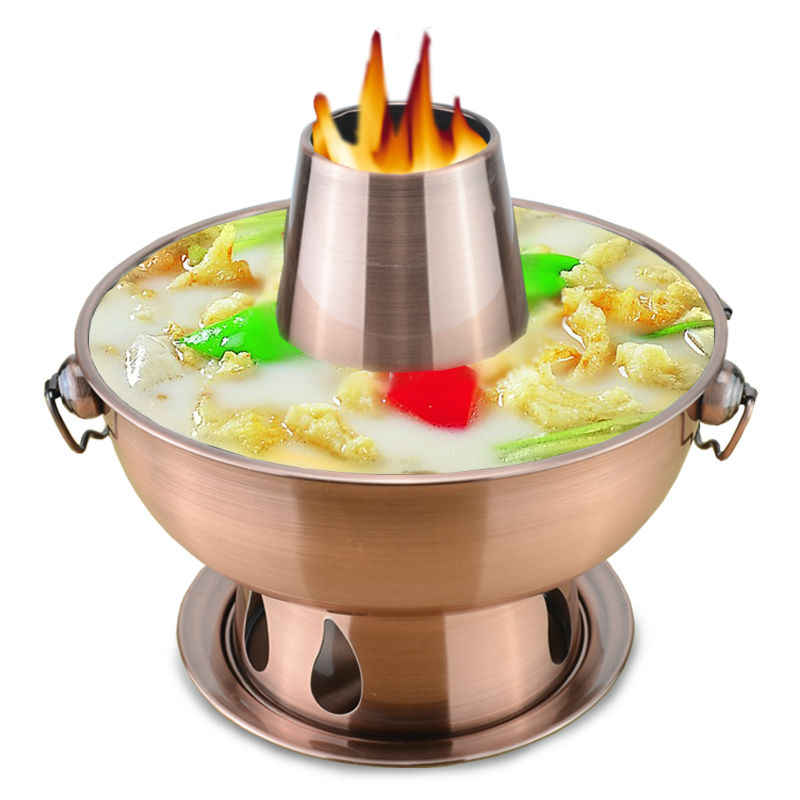1.8 liters High quality  stainless steel hot pot, Chinese fondue Lamb Chinese Charcoal hotpot outdoor cooker picnic cooker