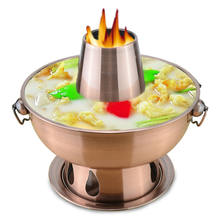 1.8 Liter Kualitas Tinggi Stainless Steel Hot Pot, Fondue Domba Cina Arang Hotpot Outdoor Cooker Piknik Cooker(China)