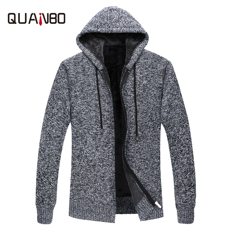 QUNABO Brand Clothing 2018 New Autumn Winter Fleece Warm Thick Cardigan Sweater Men Casual Hooded Fashion Zipper Sweaters