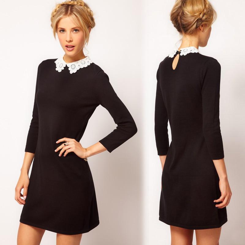 Черное платье с воротником из кружева