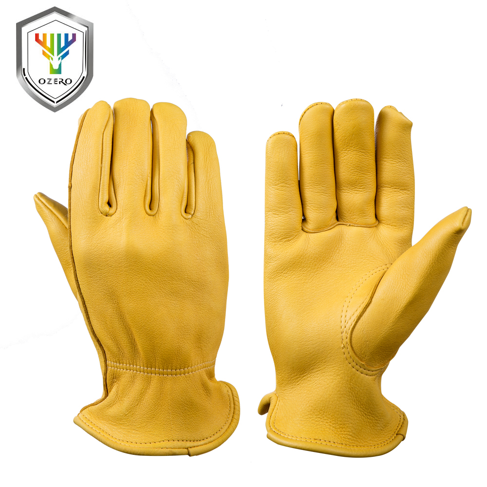 OZERO New Men Work Gloves Welding Working Gloves Deerskin Leather Safety Protective Garden MOTO Wear-Resisting Gloves 8002