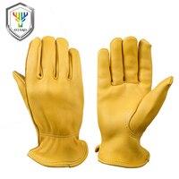 OZERO New Men Work Gloves Welding Working Gloves Deerskin Leather Safety Protective Garden MOTO Wear Resisting