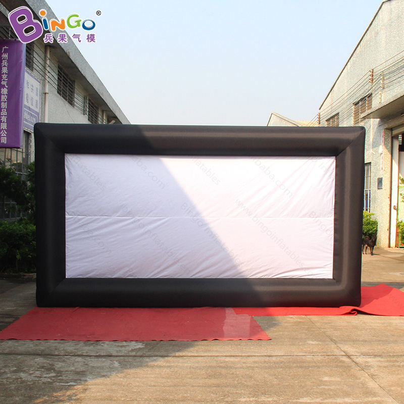 Customized 4.5X2.5 Meters Inflatable Movie Projector Screen High Quality blow up black frame white screen outdoors toy tent