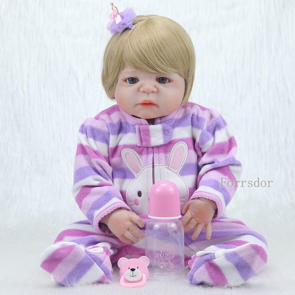 Forrsdor 55 cm 예쁜 전체 실리콘 실물 신생아 골드 짧은 머리와 파란 눈 실리콘 bonecas bebe reborn doll-에서인형부터 완구 & 취미 의  그룹 1