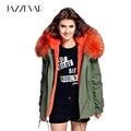 JAZZEVAR девушку army green Большой енот меховой воротник капюшоном пальто парки и пиджаки 2 в 1 съемная подкладка зимняя куртка марка стиль