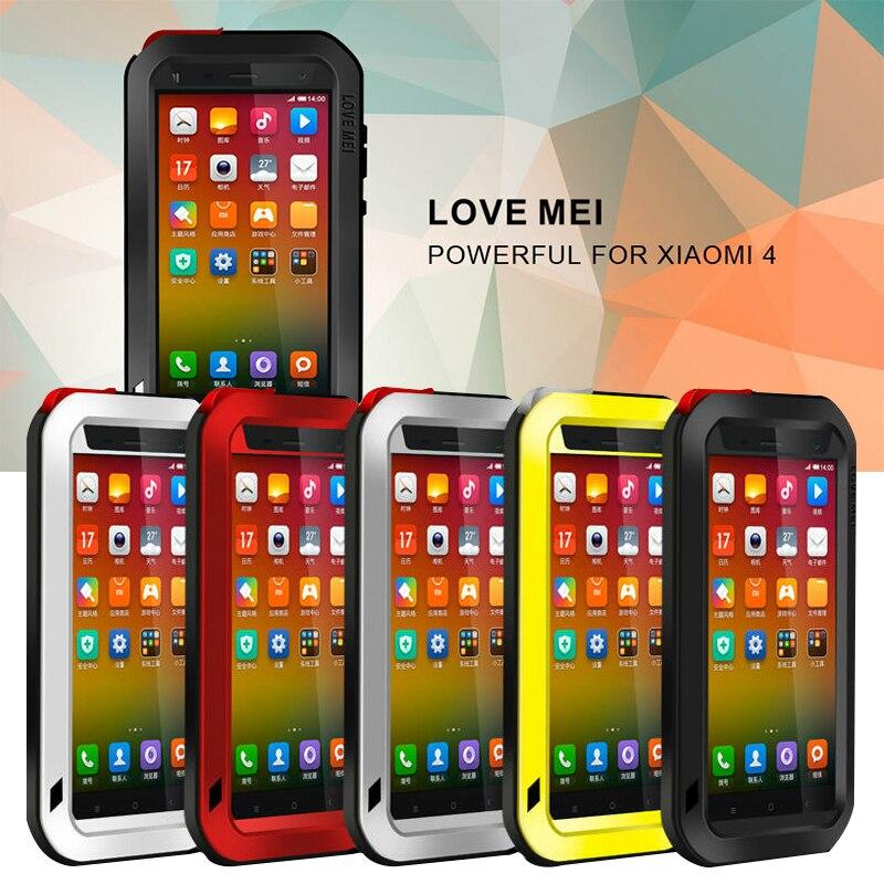 imágenes para Amor Mei caso casos de la cubierta para xiaomi mi4 xiaomi 4 A Prueba de Golpes de metal caja del teléfono de Cristal Templado