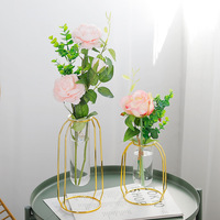 Nordic Gold Metal Glass Tabletop Vase Modern Living Room Home Decoration Accessories Wedding Gifts Vases For Decoration