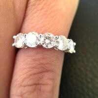 14 К белого золота муассанит кольцо 1.5CTW F Цвет Обручение кольцо Тесты положительный Муассанит Diamond Band Свадебные украшения для невесты