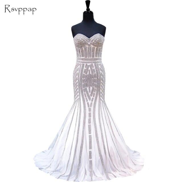 Luxury Mermaid Evening Dress Sweetheart Heavy Silver Beaded Floor
