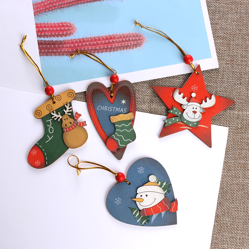 Cool Snowman Decoration Ornaments For Christmas Tree: Christmas Tree Red Bead Wooden Pendant Decoration Creative
